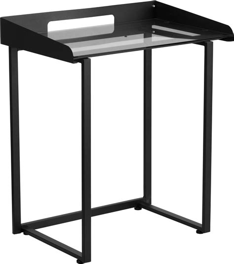 black tempered glass desk desk with clear tempered glass and black frame from