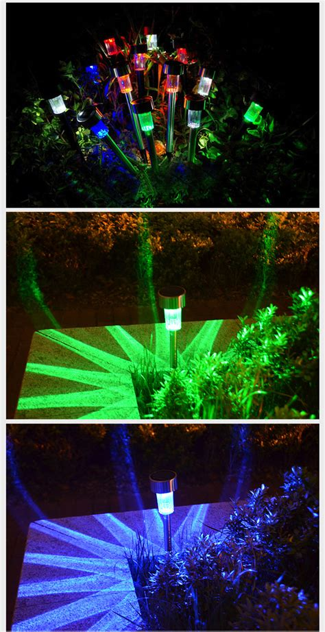 multi colored solar garden lights 5x new solar led path light outdoor garden lawn multi