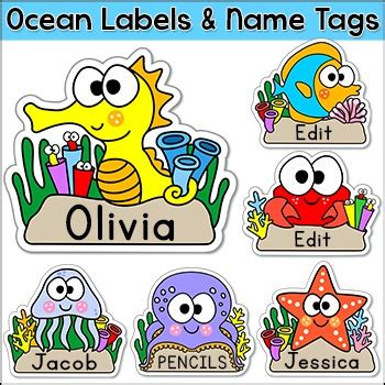 printable under the sea name tags ocean theme name tags labels under the sea theme