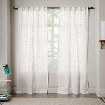 living room courtains semi sheer chevron curtain white west elm