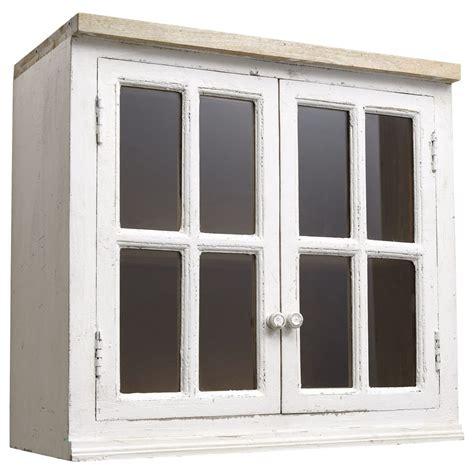 Meuble haut vitré de cuisine en manguier ivoire L 70 cm
