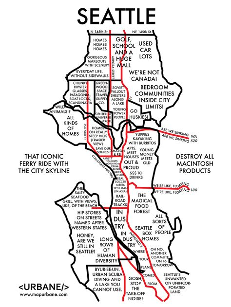 sections of seattle 8 maps that show each city by stereotype