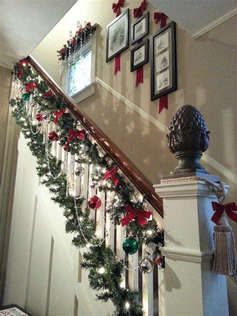 christmas banister garland best 25 christmas stair garland ideas on pinterest