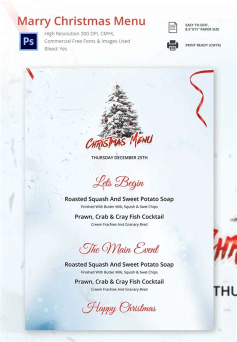christmas menu template 37 free psd eps ai