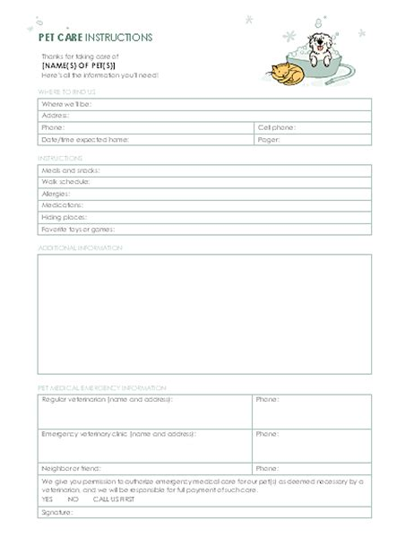 Instructions For Pet Sitter Pet Sitter Template