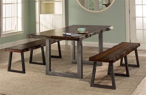 hillsdale emerson rectangle dining set hillsdale emerson 3 rectangle dining set with two benches gray sheesham hd 5925dtb at