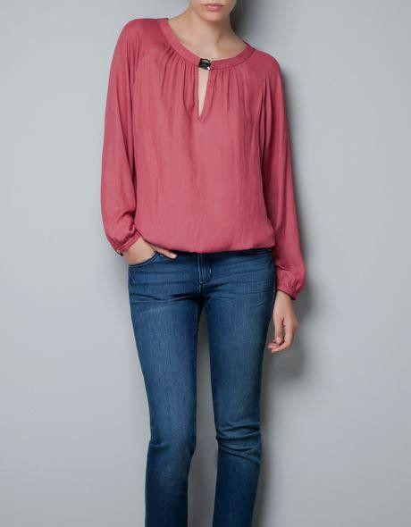 Zara Jumbo Blouse By Hana zara blouse with jewelled neckline in pink lyst