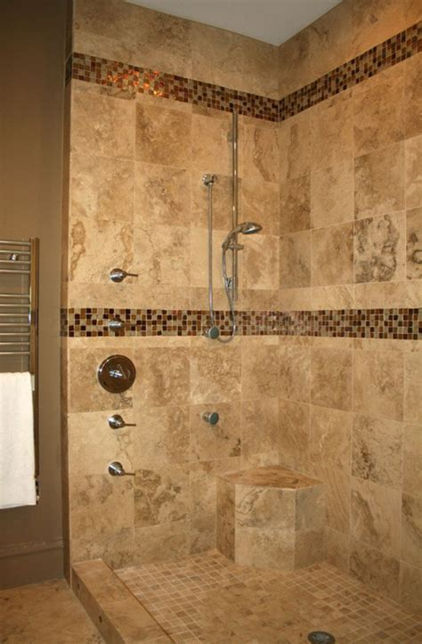 Bathroom Tile Shower Designs Open Shower Design Inspiration With Marble Floor And Wall Tile And Ceramic Mosaic Shower