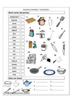 Kitchen Utensils Worksheet Pdf by Kitchen Worksheets Make One That Shows Equipment To Do