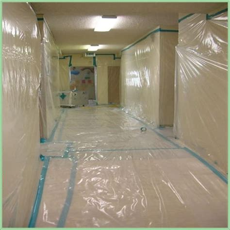 containment set up for asbestos acoustic popcorn ceiling