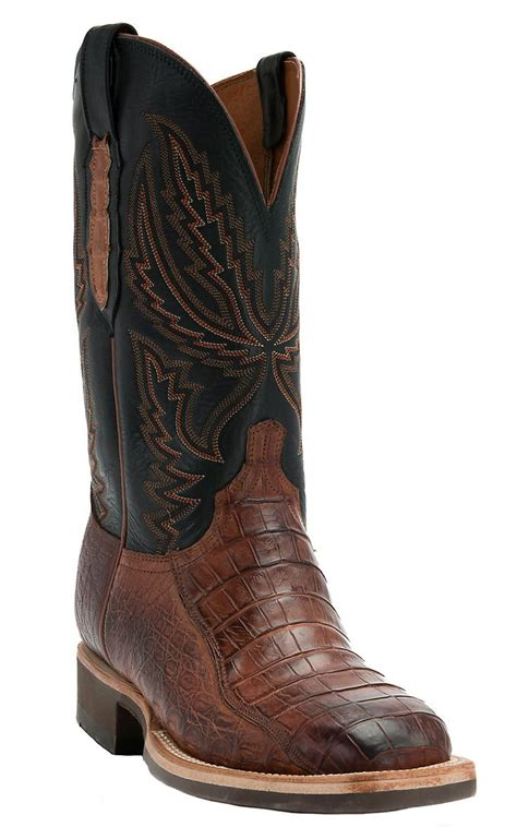 mens square toe cowboy boots lucchese 174 1883 s cognac burnished crocodile
