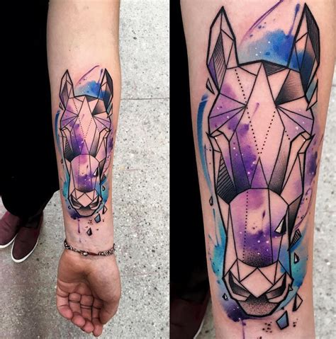 watercolor tattoo horse geometric with galaxy best design ideas