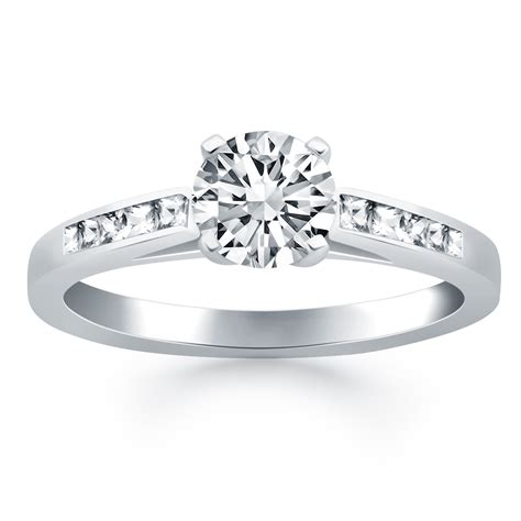 cathedral channel set engagement ring mounting with