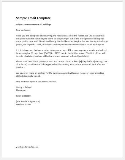 Holiday Announcement Email To Customers Word Excel Templates Announcement Email Template Free