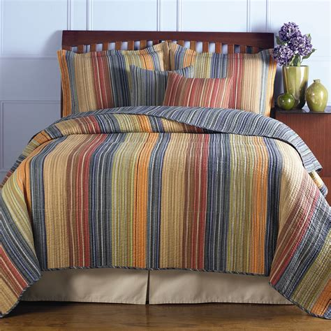 king size 100 cotton quilt set with brown orange blue