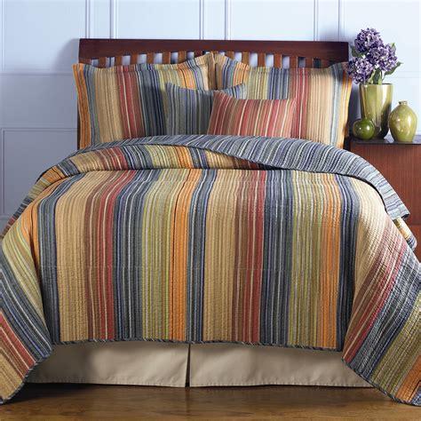 king size  cotton quilt set  brown orange red blue