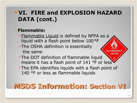 msds flashpoint section understanding material safety data sheets training by