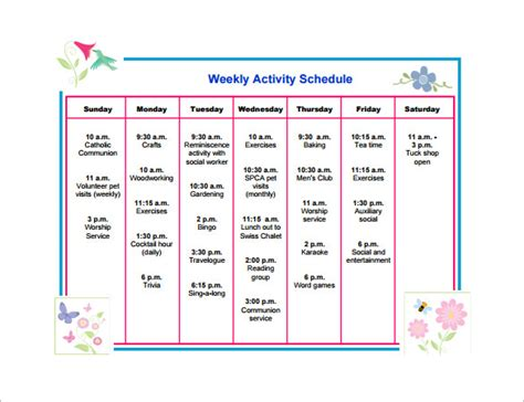 printable weekly activity planner activity schedule templates 12 free word excel pdf