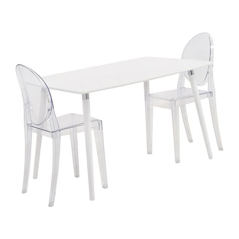 80 Off White Dining Table Set With Two Ghost Chairs Ghost Chair Dining Set