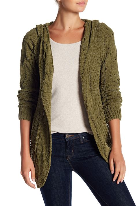 hooded cable knit cardigan woven chenille cable knit hooded cardigan