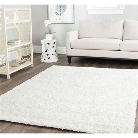 white fluffy bedroom rugs safavieh cozy solid white shag rug