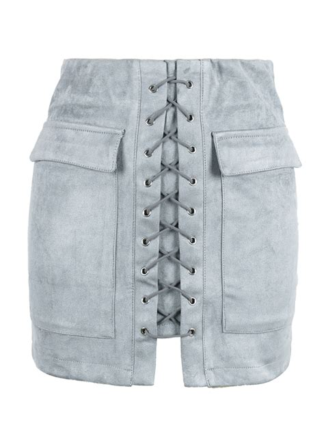 lace up mini pencil skirt gray faux suede lace up front pencil mini skirt choies
