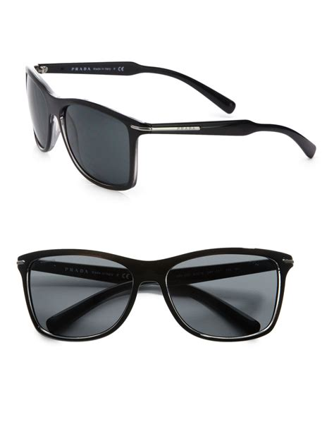 Prda Arrow lyst prada arrow wayfarer sunglasses in black for