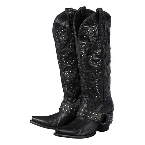 boots womens black nickel leather stud rocker harness