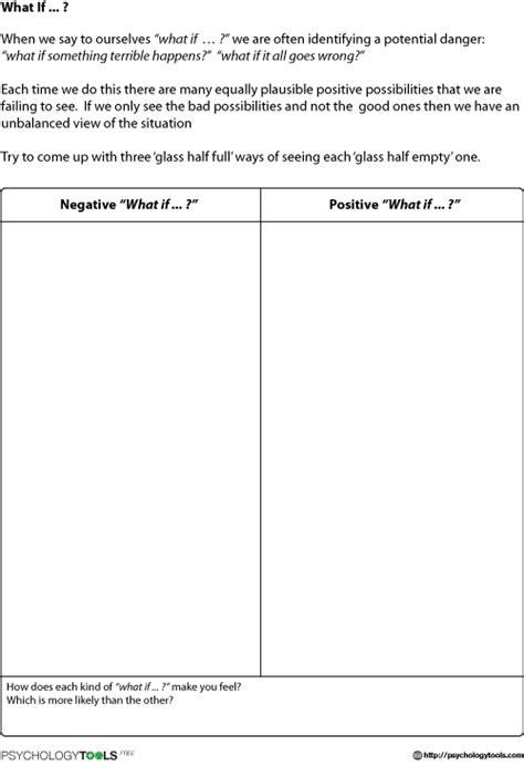 catastrophizing worksheet what if cbt worksheet psychology tools