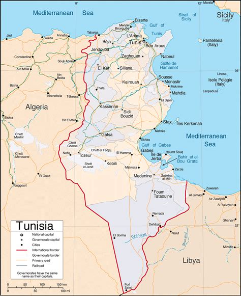 where is tunisia in the world map tunisia detailed map