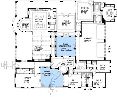 floor plan with courtyard in middle of the house plan 16315md mediterranean villa with two courtyards