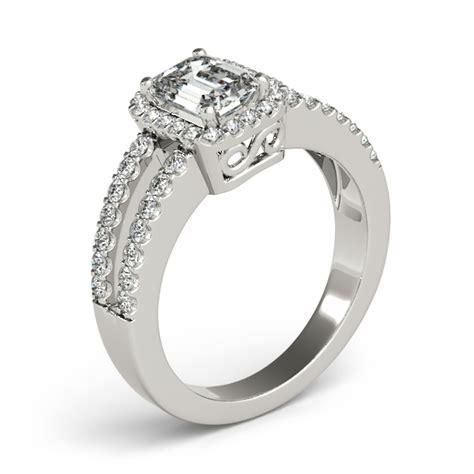 emerald cut engagement ring split shank palladium