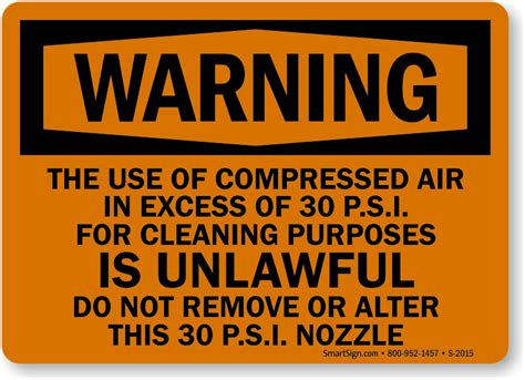 Under The Stairs Storage compressed air 30 psi cleaning unlawful sign sku s 2015