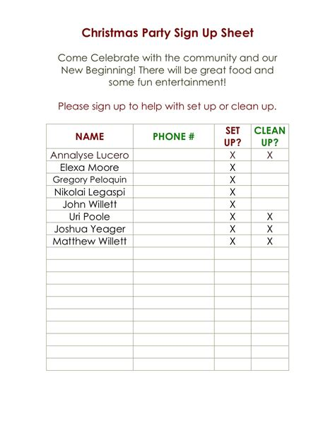 christmas party food sign up sheet new calendar template