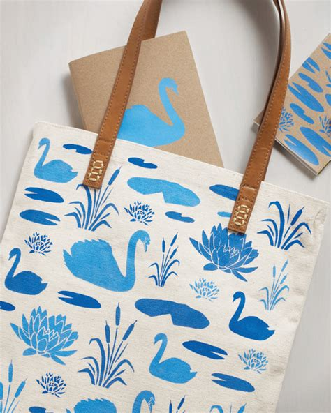 tote bag pattern martha stewart swan stenciled tote bag and notebooks martha stewart