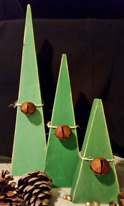 painted wooden trees trees rustic wooden primitive set of 3 home decor
