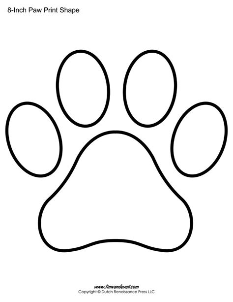 free printable shaped card templates paw print template shape lots of different sizes