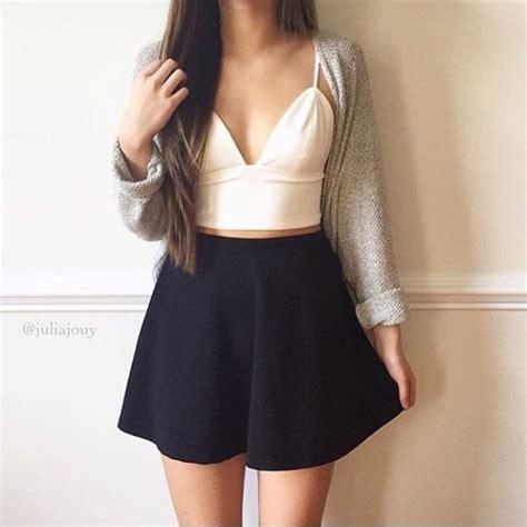 Top Skirt 101825571 White Black Casual Set skirt black white sweater grey black skirt white top