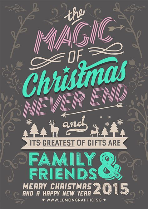 merry christmas typography card  lemon graphic singapore business card graphic design