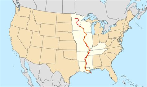 mississippi river on map of united states great river road