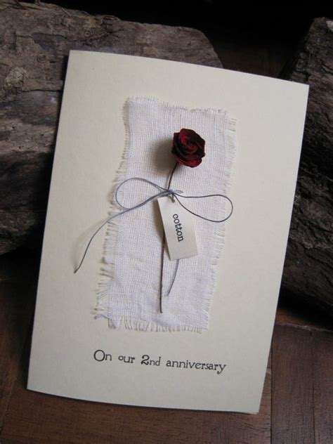 2nd Wedding Anniversary Card with cotton fabric & red rose