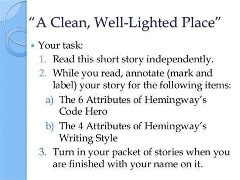 A Clean Well Lighted Place Summary by American Heroes
