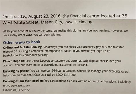 closing account letter bank of america bank of america closing city branch due to stale