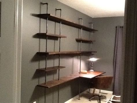 iron pipe with salvaged wood shelving diy