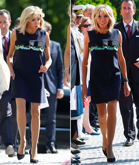 emmanuel macron yesterday news brigitte macron shows off legs again as she steps out in