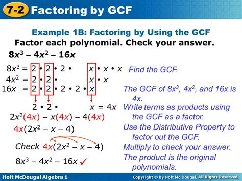 Factor The Common Factor Out Of Each Expression Worksheet by Objective Factor Polynomials By Using The Greatest Common