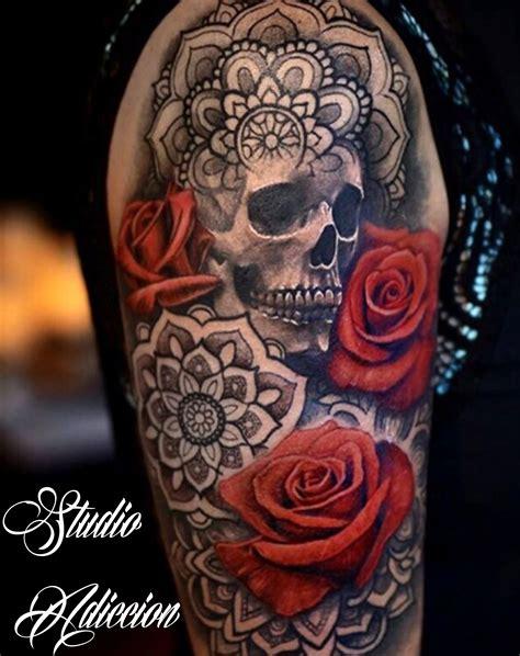 tattoo mandala y rosa calavera craneo rosas mandala tatuaje