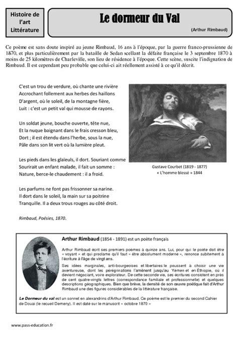 Le Dormeur Du Val Hda by Le Dormeur Du Val Arthur Rimbaud Arts Du Langage