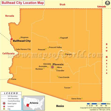 map of usa showing arizona where is bullhead city arizona