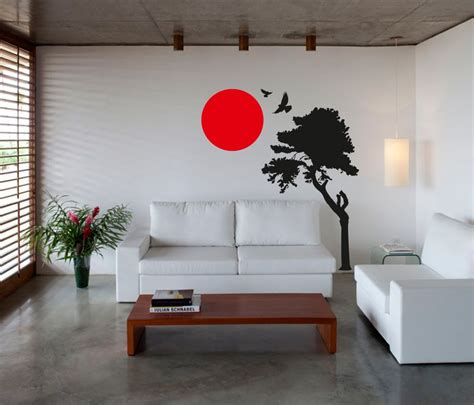 Japanese Wall Sticker Wall Art Sticker Decal Vinyl Japanese Oriental Tree Sunset